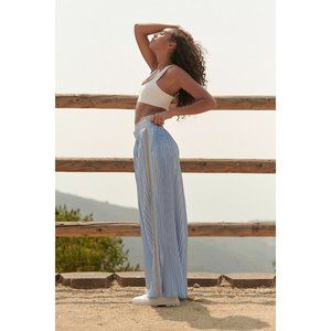 NWT Free People Movement Blue Reflective Lift Off Pleated Wide Leg Pants - Large